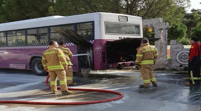Çanakkale'de halk otobüsü yanma tehlikesi atlattı!