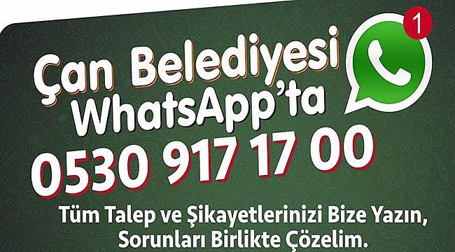 Çan Belediyesi'nden Whatsapp Hizmeti