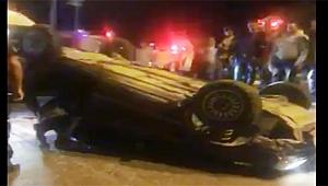 Çanakkale doğalgaz kavşağında araç takla attı!