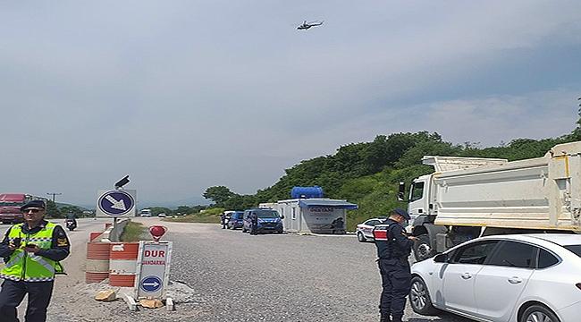 Jandarmadan helikopterle havadan trafik denetimi