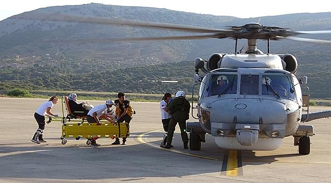 Gökçeada'dan askeri helikopterle tahliye edildi