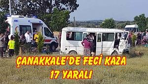 İşçileri taşıyan minibüs kaza yaptı 17 yaralı!