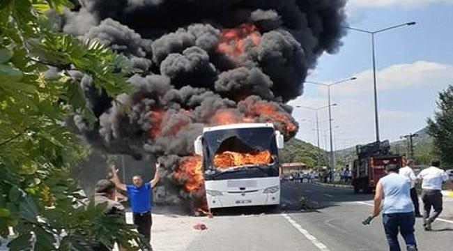 Otobüs alev alev yandı 5 ölü!