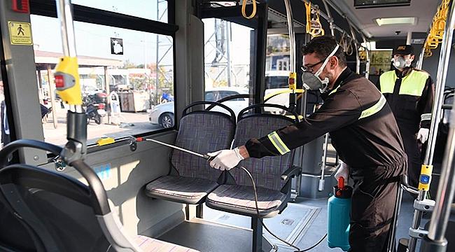 Halk otobüsleri ilaçlandı