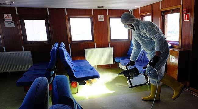 Çanakkale'de gemi ve iskelelerde dezenfekte çalışması
