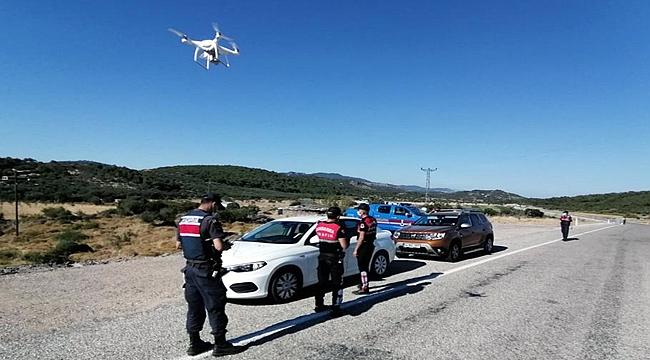 Çanakkale'de havadan drone ile trafik denetimi
