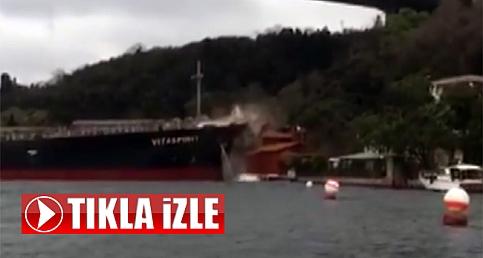 İstanbul'da geminin yalıya çarpma anı görüntülendi!